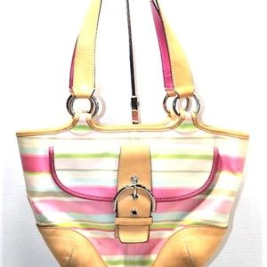 Soho Pastel Striped Coach Shoulder Bag